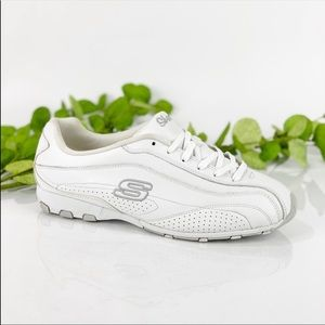 Skechers White Tennis Running Shoes Leather LaceUp